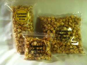 The three sizes for Carmazzi Caramel Corn