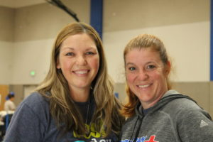 Ms. Calista (left) and Ms. Brousseau (right) at the blood drive