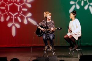 Jen slays at the Christmas Open Mic alongside Andrea Gonzales ('17)