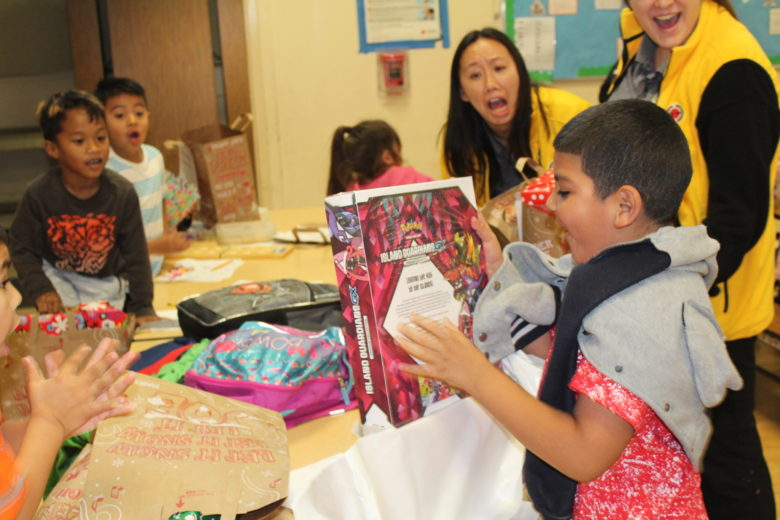 Both students and faculty get excited about the toy drive.