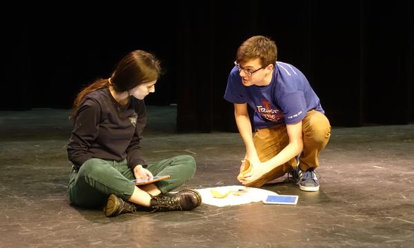 Jenn Roberts ('18) and Jacob Cherry('18) rehearse a scene from
